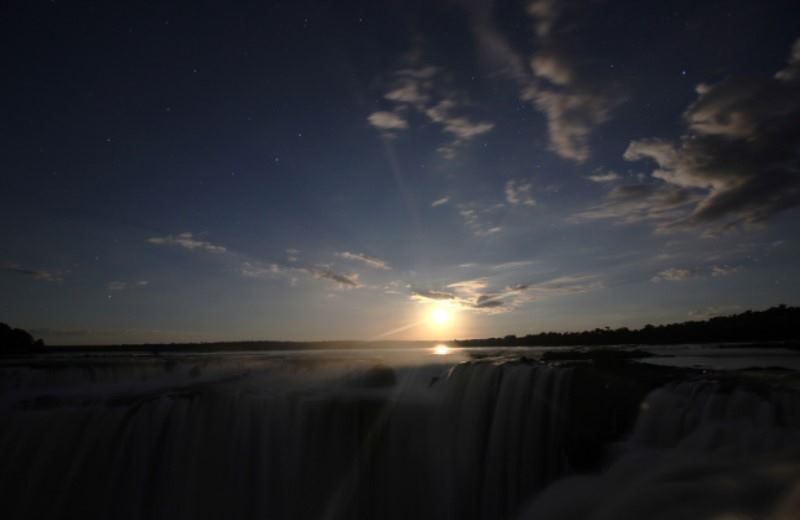 Iguazu Falls At Night With Full Moon