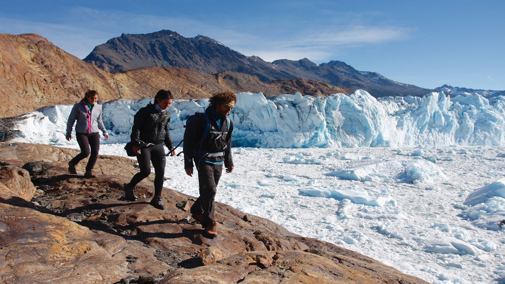 Trekking In Front Of The Viedma Glacier